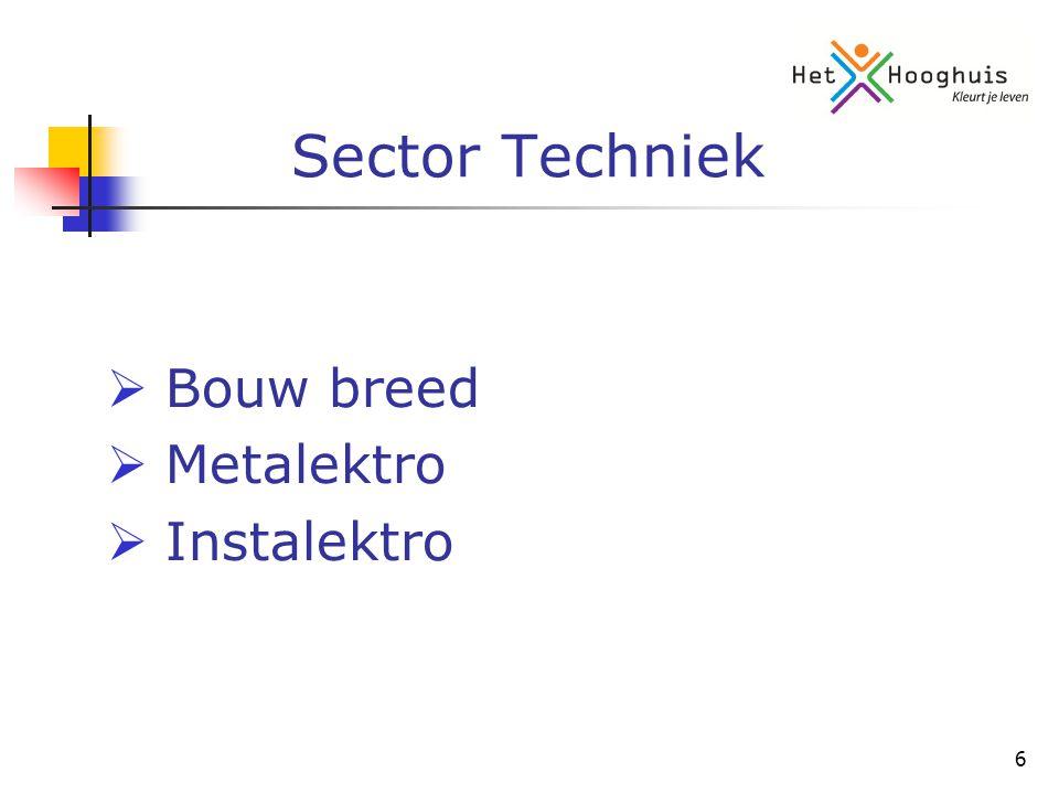 7 Sector Zorg & Welzijn (West)  Zorg & Welzijn breed met aandacht voor: -Uiterlijke Verzorging -Verzorging/Verpleging -Facilitair