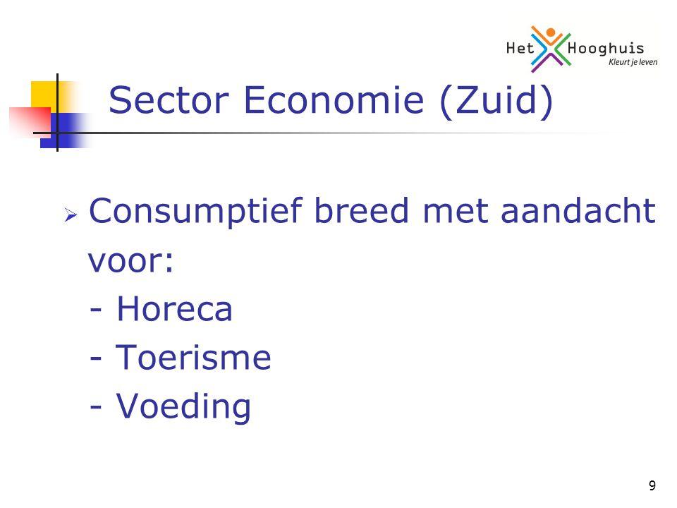 9 Sector Economie (Zuid)  Consumptief breed met aandacht voor: - Horeca - Toerisme - Voeding