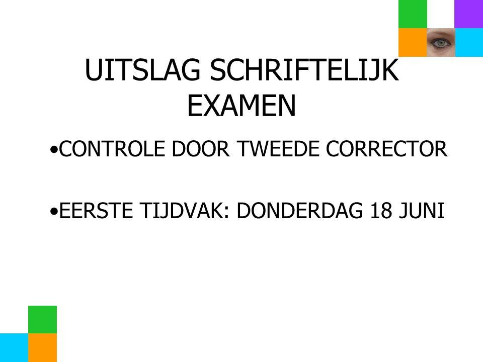 UITSLAG SCHRIFTELIJK EXAMEN CONTROLE DOOR TWEEDE CORRECTOR EERSTE TIJDVAK: DONDERDAG 18 JUNI