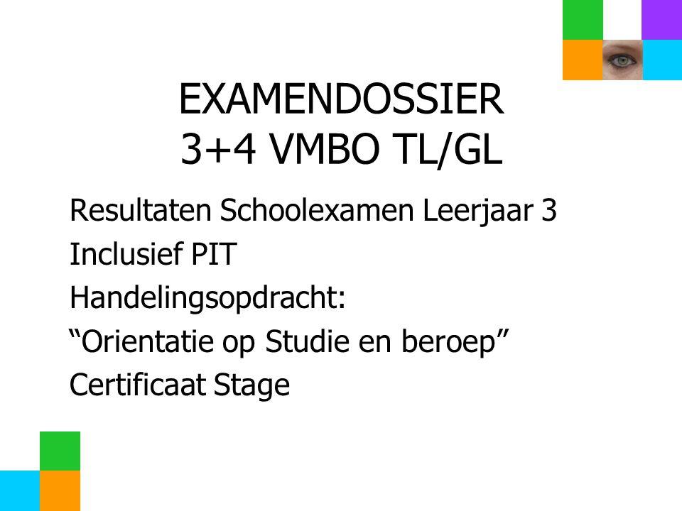 EXAMENDOSSIER 3+4 VMBO TL/GL Resultaten Schoolexamen Leerjaar 3 Inclusief PIT Handelingsopdracht: Orientatie op Studie en beroep Certificaat Stage