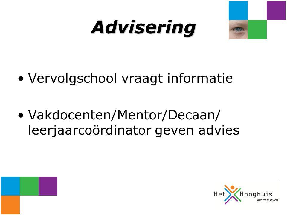 Advisering Vervolgschool vraagt informatie Vakdocenten/Mentor/Decaan/ leerjaarcoördinator geven advies