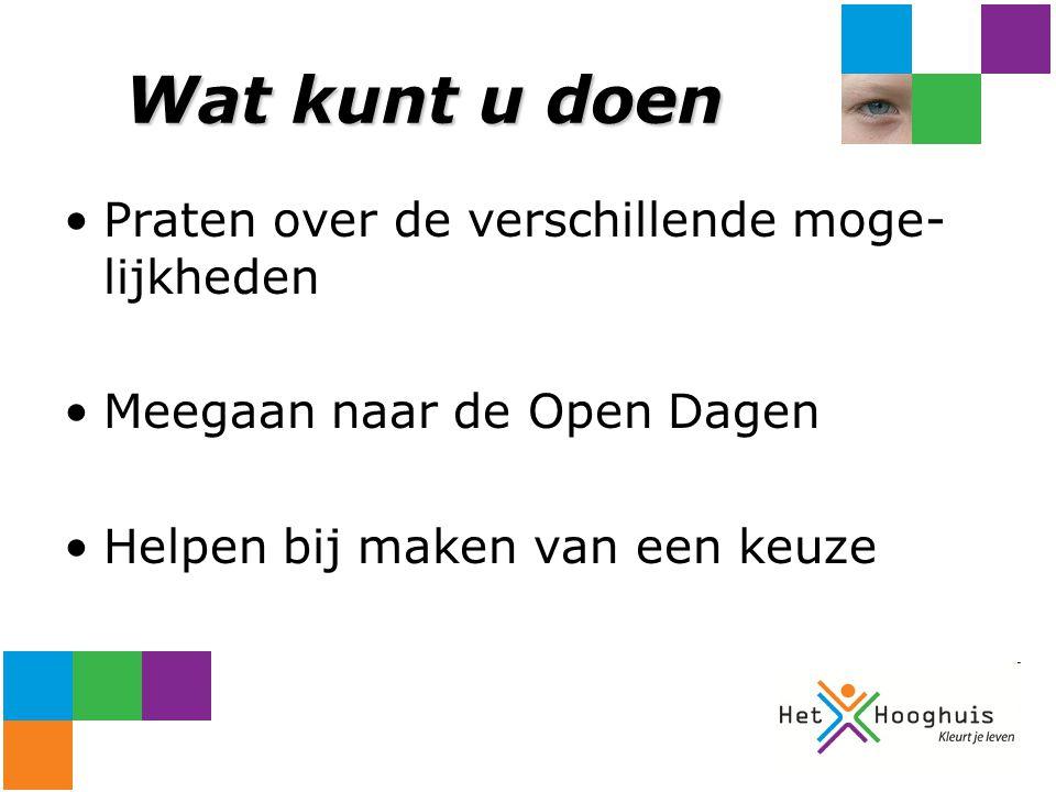 Wat kunt u doen Praten over de verschillende moge- lijkheden Meegaan naar de Open Dagen Helpen bij maken van een keuze