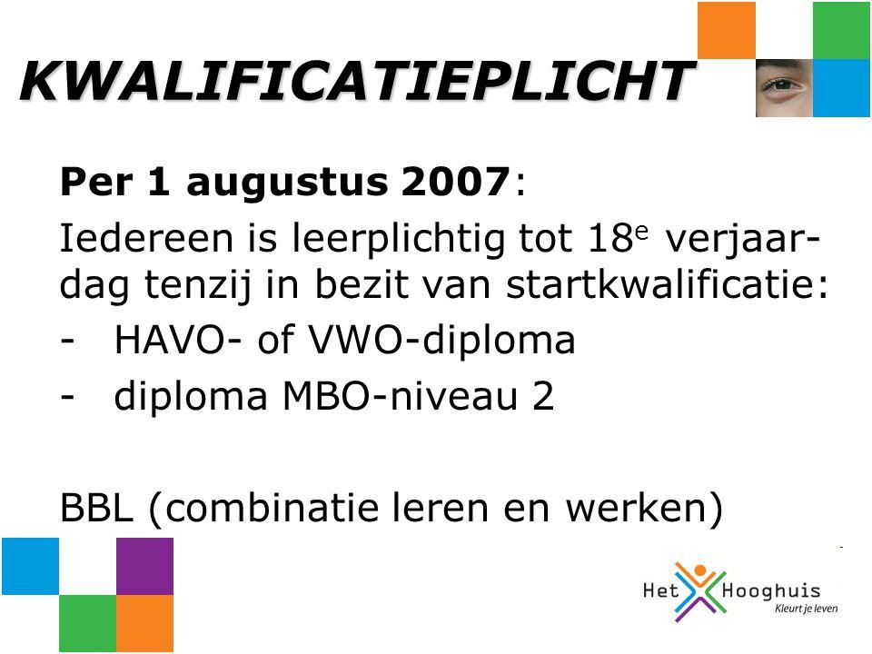 KWALIFICATIEPLICHT Per 1 augustus 2007: Iedereen is leerplichtig tot 18 e verjaar- dag tenzij in bezit van startkwalificatie: -HAVO- of VWO-diploma -d