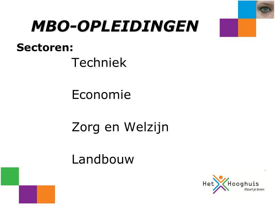 MBO-OPLEIDINGEN Sectoren: Techniek Economie Zorg en Welzijn Landbouw