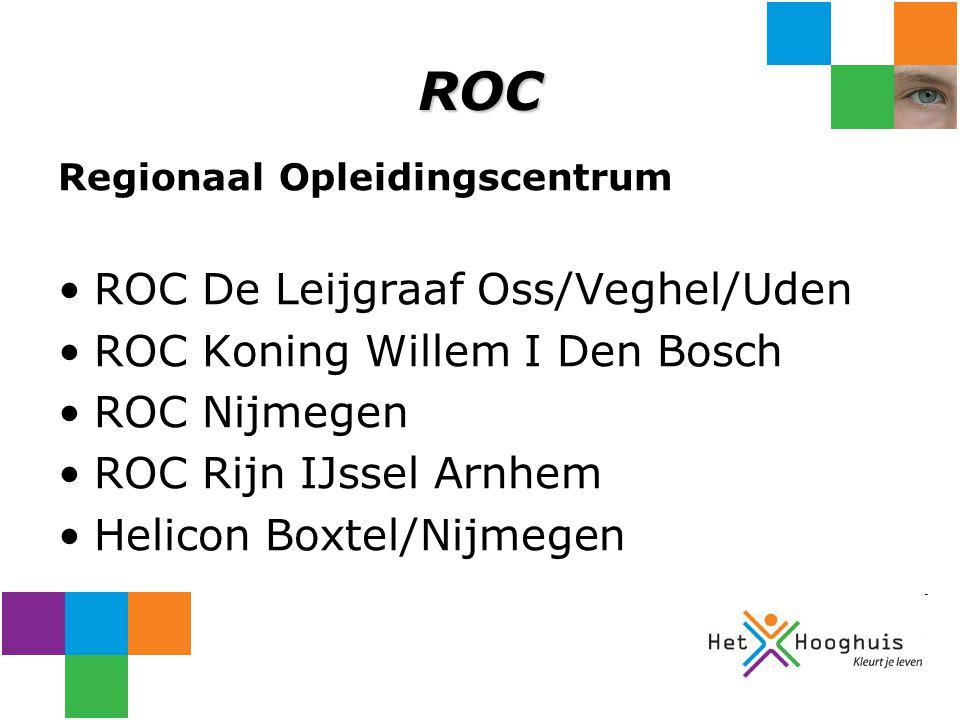 ROC Regionaal Opleidingscentrum ROC De Leijgraaf Oss/Veghel/Uden ROC Koning Willem I Den Bosch ROC Nijmegen ROC Rijn IJssel Arnhem Helicon Boxtel/Nijm