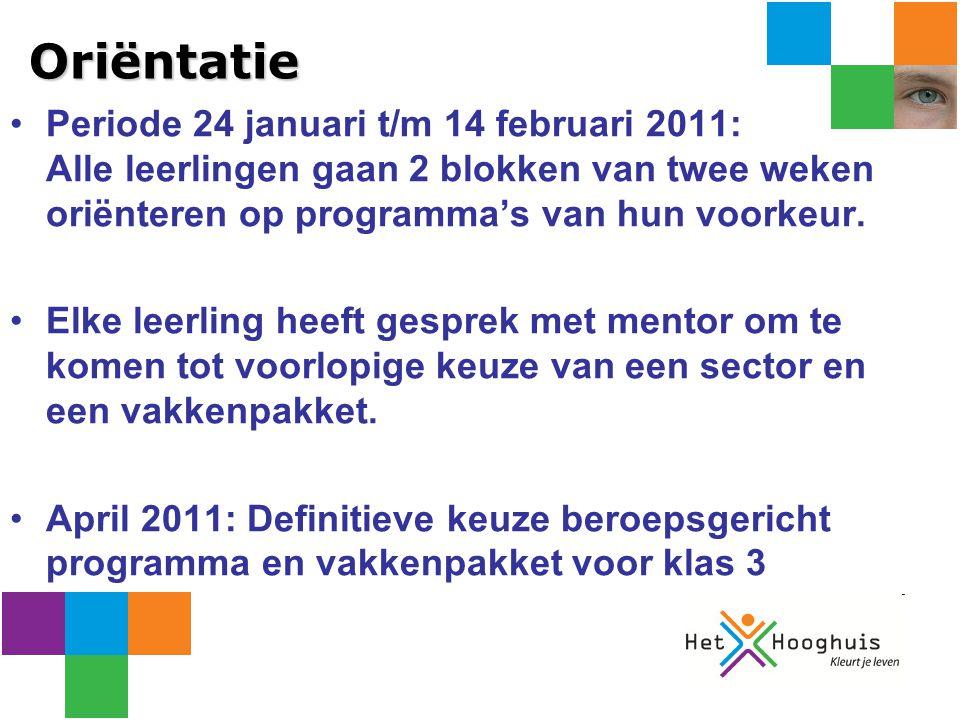 Oriëntatie Periode 24 januari t/m 14 februari 2011: Alle leerlingen gaan 2 blokken van twee weken oriënteren op programma's van hun voorkeur.