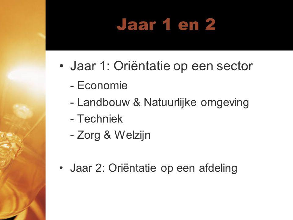 Jaar 1 en 2 Jaar 1: Oriëntatie op een sector - Economie - Landbouw & Natuurlijke omgeving - Techniek - Zorg & Welzijn Jaar 2: Oriëntatie op een afdeling
