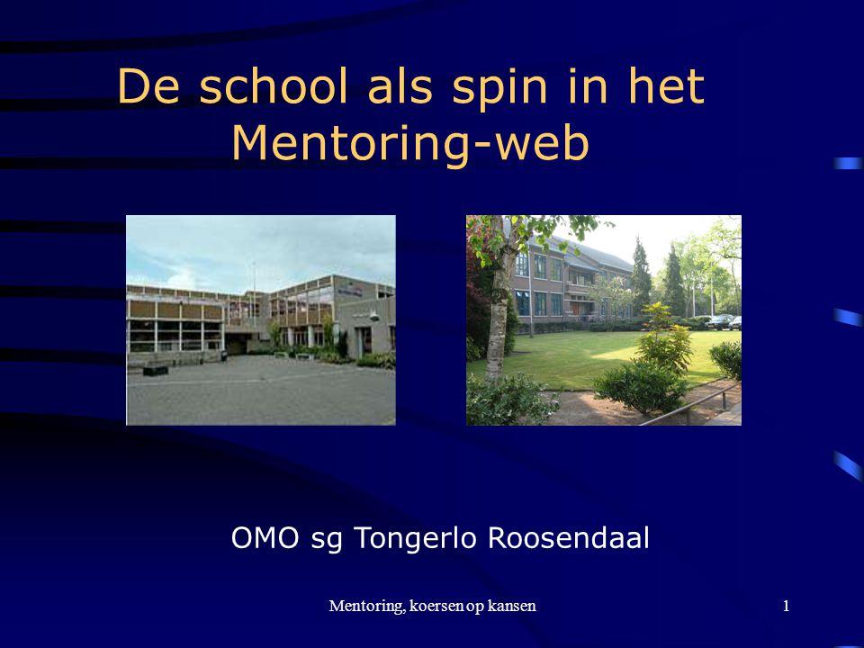 Mentoring, koersen op kansen1 De school als spin in het Mentoring-web OMO sg Tongerlo Roosendaal