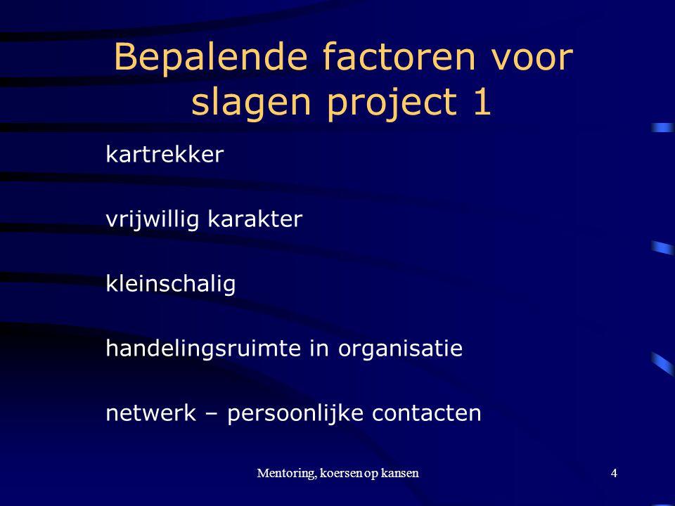 Mentoring, koersen op kansen5 Bepalende factoren voor slagen project 2 transparante organisatie succes inbouwen – kleine stappen gemotiveerde mentoren terugkoppeling inzet mentoren naar school