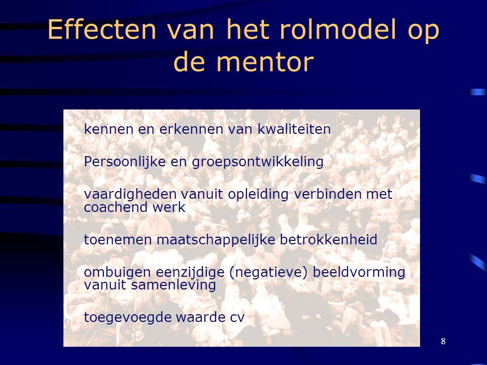 Mentoring, koersen op kansen8 Effecten van het rolmodel op de mentor kennen en erkennen van kwaliteiten Persoonlijke en groepsontwikkeling vaardigheden vanuit opleiding verbinden met coachend werk toenemen maatschappelijke betrokkenheid ombuigen eenzijdige (negatieve) beeldvorming vanuit samenleving toegevoegde waarde cv