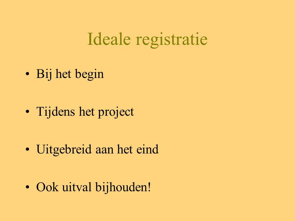 Ideale registratie Bij het begin Tijdens het project Uitgebreid aan het eind Ook uitval bijhouden!