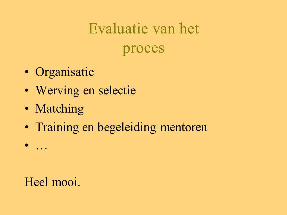 Evaluatie van het proces Organisatie Werving en selectie Matching Training en begeleiding mentoren … Heel mooi.