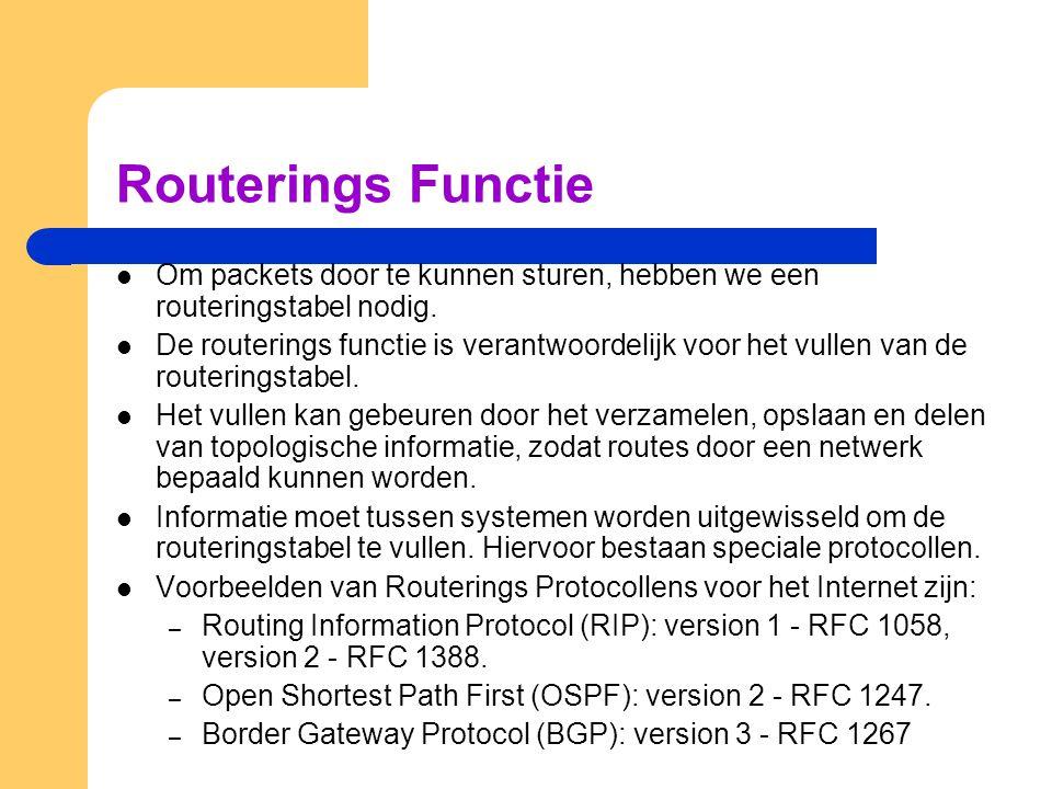 Routerings Functie Om packets door te kunnen sturen, hebben we een routeringstabel nodig. De routerings functie is verantwoordelijk voor het vullen va
