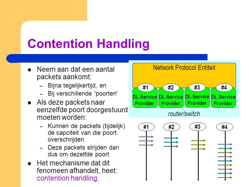 Contention Handling Neem aan dat een aantal packets aankomt: – Bijna tegelijkertijd, en – Bij verschillende poorten Als deze packets naar eenzelfde poort doorgestuurd moeten worden: – Kunnen de packets (tijdelijk) de capciteit van die poort overschrijden.