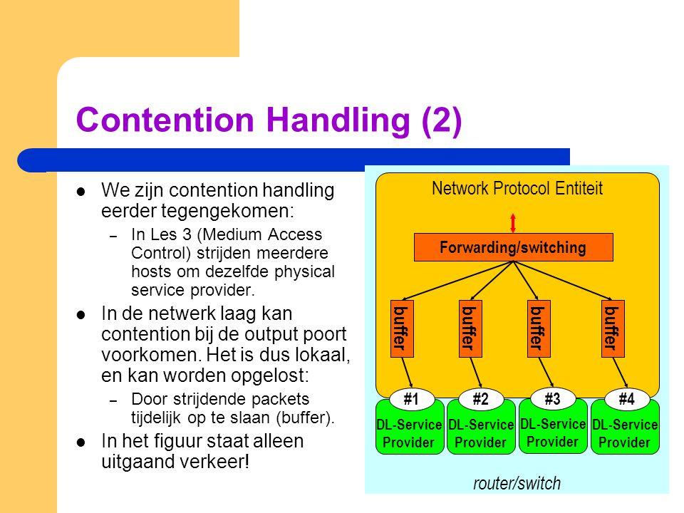 Contention Handling (2) We zijn contention handling eerder tegengekomen: – In Les 3 (Medium Access Control) strijden meerdere hosts om dezelfde physic