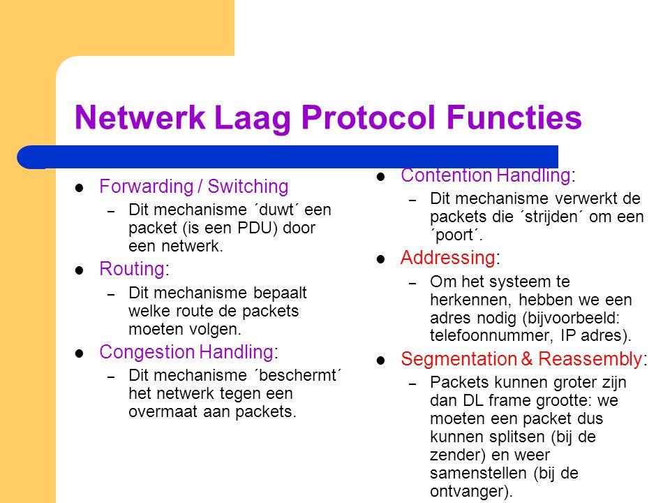 Netwerk Laag Protocol Functies Forwarding / Switching – Dit mechanisme ´duwt´ een packet (is een PDU) door een netwerk. Routing: – Dit mechanisme bepa