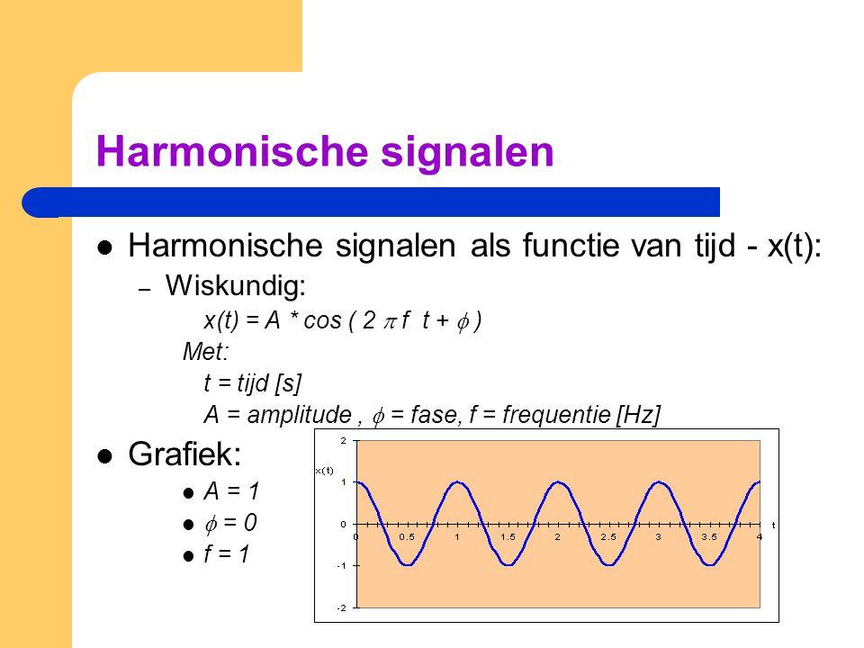 Harmonische signalen Harmonische signalen als functie van tijd - x(t): – Wiskundig: x(t) = A * cos ( 2  f t +  ) Met: t = tijd [s] A = amplitude, 