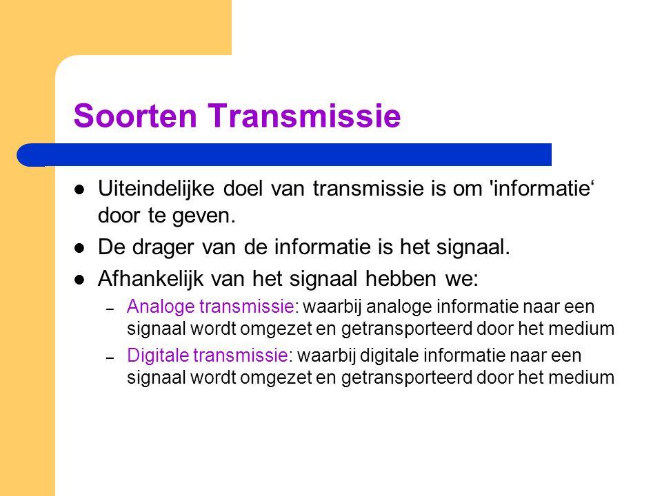 Soorten Transmissie Uiteindelijke doel van transmissie is om 'informatie' door te geven. De drager van de informatie is het signaal. Afhankelijk van h