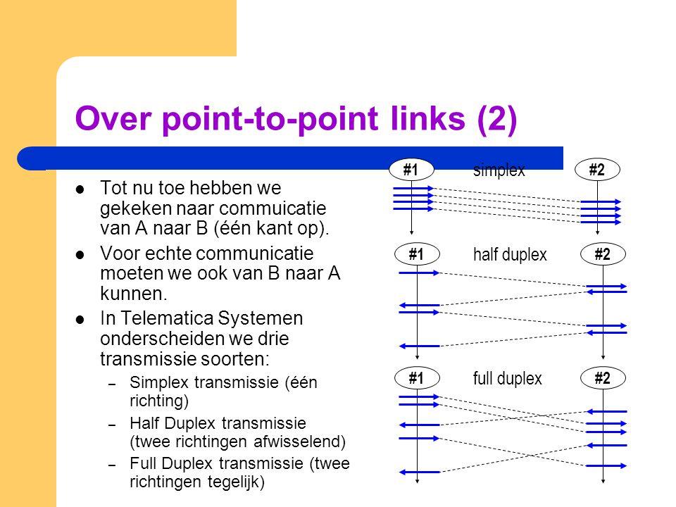 Functies van de Point-to-Point Data-Link Protocol Laag De belangrijkste functies van de point-to-point data-link laag zijn: – Error Handling: De functie die het transport van de gegevens betrouwbaar maakt (preciezer: de kans op fouten verkleind) – Flow Control: Bron/Doel snelheids-aanpassingen – Framing: de twee vorige functies werken beter en makkelijker als je ze toepast op een eindige reeks van bits, ook wel een frame genoemd.