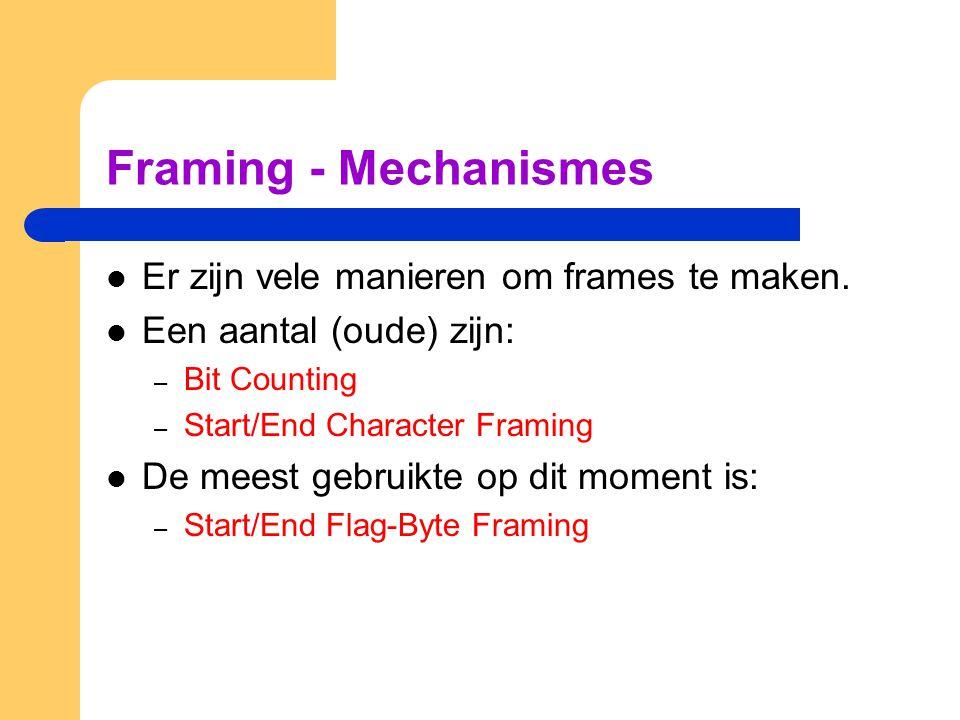 Framing: Start/End Flag Byte Veel bestaande Data-Link Protocols gebruiken Start/End Flag Bytes: – Deze flag byte is: 01111110 – Dit framing mechanisme wordt gebruikt in bijvoorbeeld de protocollen: HDLC, SLIP en PPP.