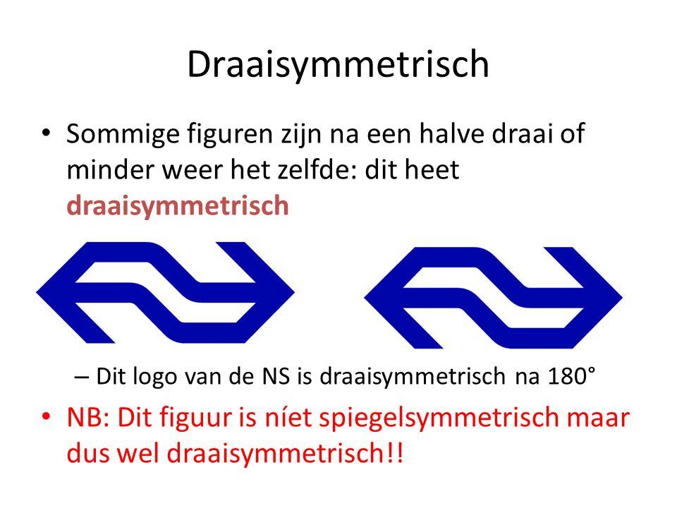 Sommige figuren zijn na een halve draai of minder weer het zelfde: dit heet draaisymmetrisch – Dit logo van de NS is draaisymmetrisch na 180° NB: Dit figuur is níet spiegelsymmetrisch maar dus wel draaisymmetrisch!.
