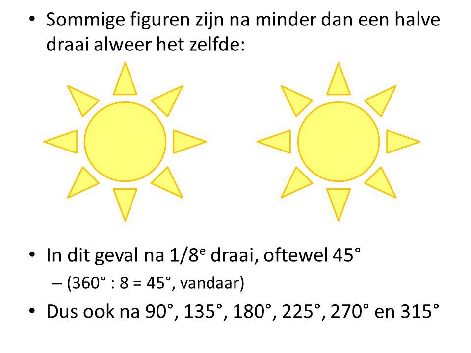 Sommige figuren zijn na minder dan een halve draai alweer het zelfde: In dit geval na 1/8 e draai, oftewel 45° – (360° : 8 = 45°, vandaar) Dus ook na 90°, 135°, 180°, 225°, 270° en 315°