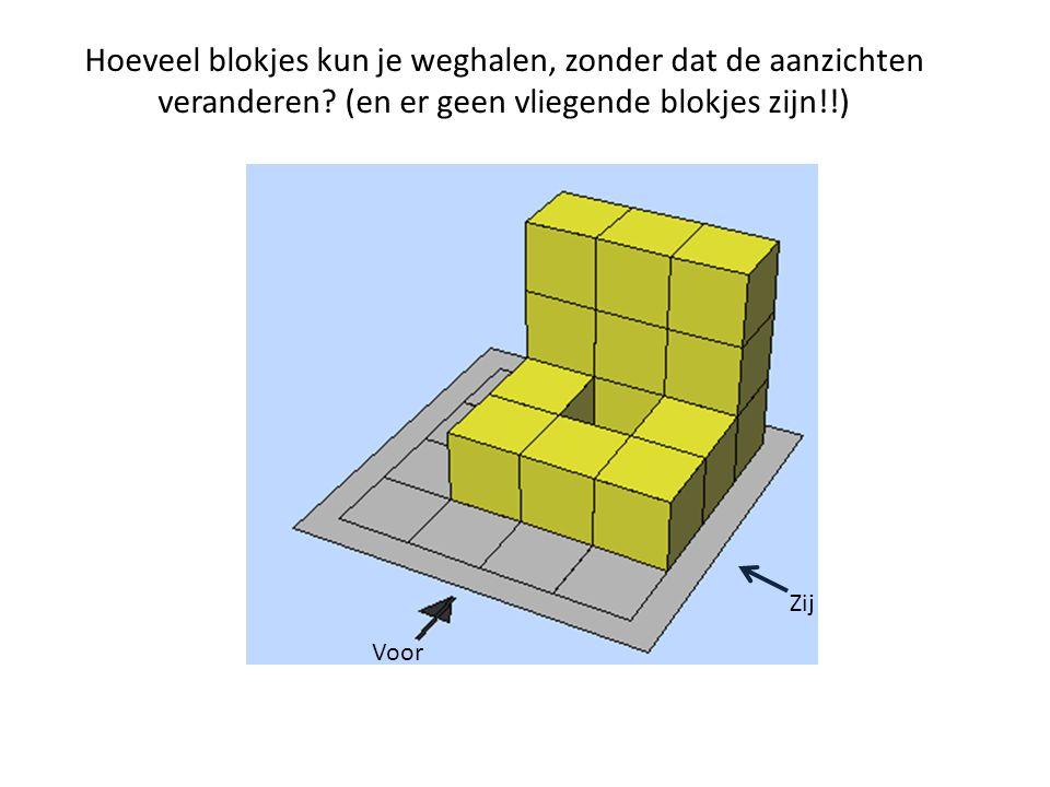Hoeveel blokjes kun je weghalen, zonder dat de aanzichten veranderen? (en er geen vliegende blokjes zijn!!) Zij Voor