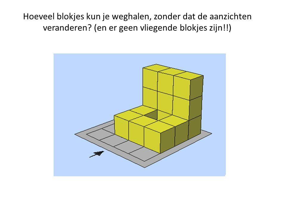Hoeveel blokjes kun je weghalen, zonder dat de aanzichten veranderen? (en er geen vliegende blokjes zijn!!)