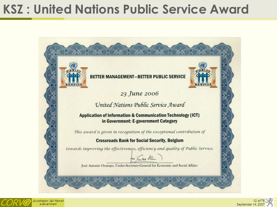 Co-ordination Cell Flemish e-Government 12 of 75 September 14, 2007 KSZ : United Nations Public Service Award