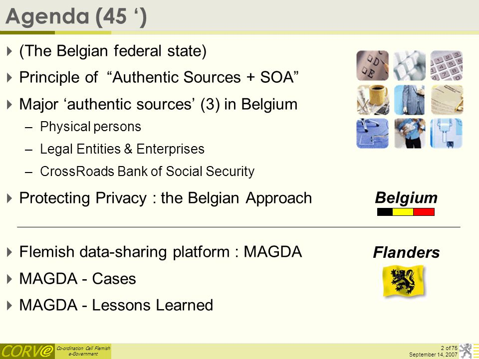 Co-ordination Cell Flemish e-Government 23 of 75 September 14, 2007 Flemish datasharing platform : MAGDA  MAGDA = MAximale GegevensDeling tussen Administraties/applicaties or 'MAximal DataSharing amongst Administrations/applications'  PLATFORM that makes data exchange and application integration possible within the Flemish administration and with the outside world  Service-oriented architecture : (a)synchronous data-exchange (webservices, ftp, web-application, ETL-message transformation, routing, archiving, logging & auditing, …)  Re-usability of data-components : benefits to e-government entities, to (business) partners & clients Gov-Entity : 'generic' services available, lower cost, better data Citizen/enterprise : I will say it only once