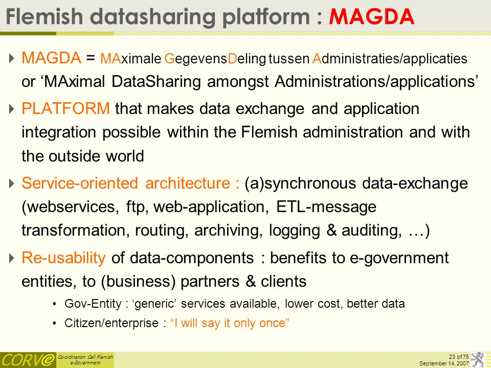 Co-ordination Cell Flemish e-Government 23 of 75 September 14, 2007 Flemish datasharing platform : MAGDA  MAGDA = MAximale GegevensDeling tussen Admi