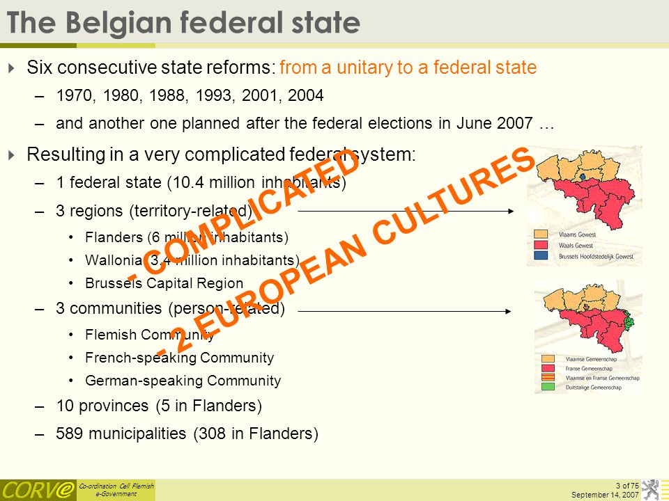 Co-ordination Cell Flemish e-Government 34 of 75 September 14, 2007 MAGDA – lessons learned E-government success is the result of political commitment financial commitment organisational commitment above all personal commitment.