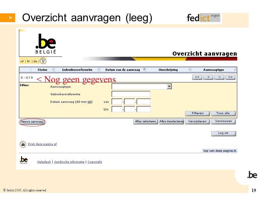 19 © fedict 2005. All rights reserved Overzicht aanvragen (leeg) < Nog geen gegevens