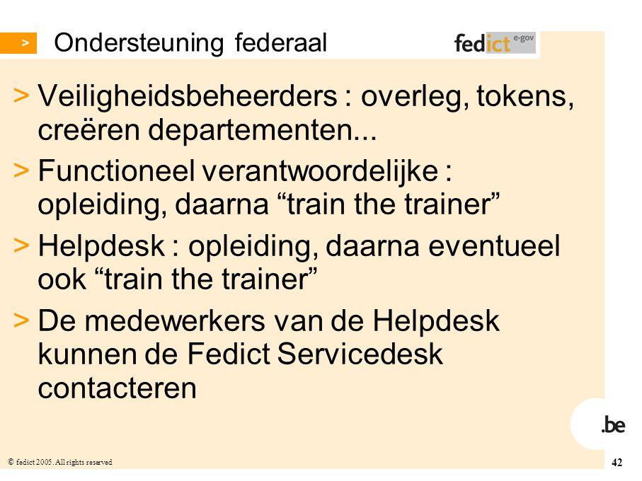 42 © fedict 2005. All rights reserved Ondersteuning federaal > Veiligheidsbeheerders : overleg, tokens, creëren departementen... > Functioneel verantw