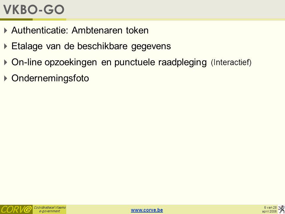 Coördinatiecel Vlaams e-government 6 van 28 april 2006 VKBO-GO http://vipvkbo.vlaanderen.be/vkbo/