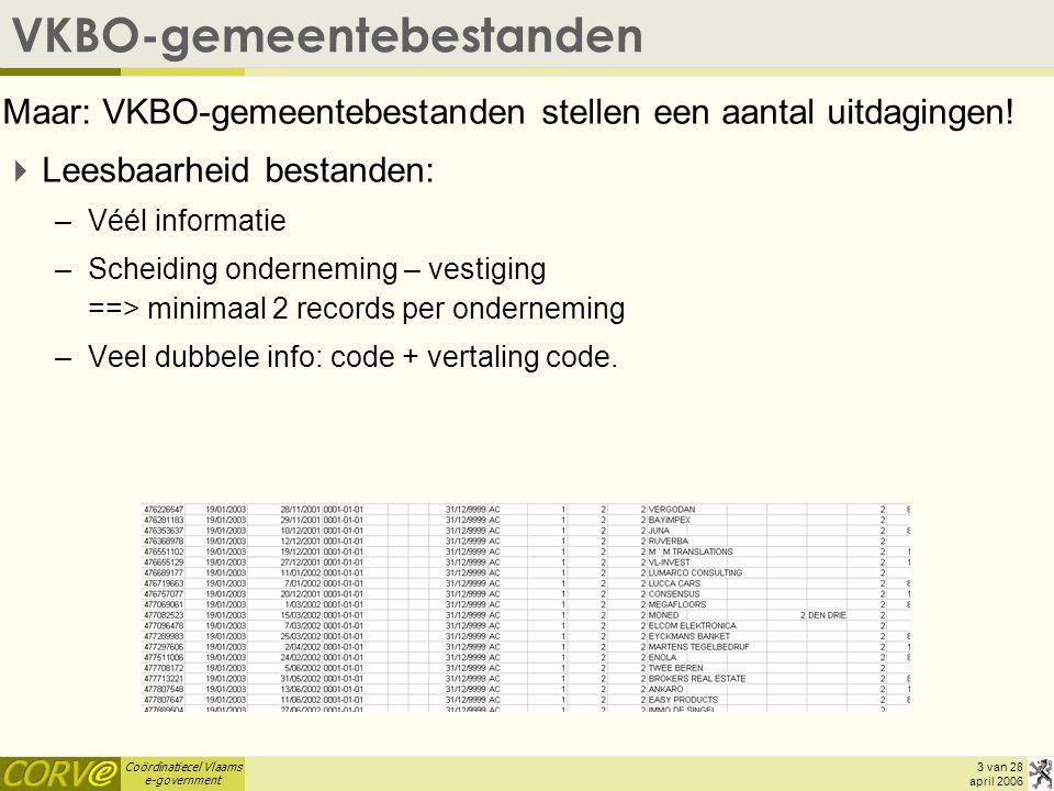 Coördinatiecel Vlaams e-government 4 van 28 april 2006 VKBO-gemeentebestanden  VKBO-gemeentebestanden waren eenmalig: –Voor volgend bestand nieuwe aanvraag nodig –Geen updates: wat is de evolutie t.o.v.