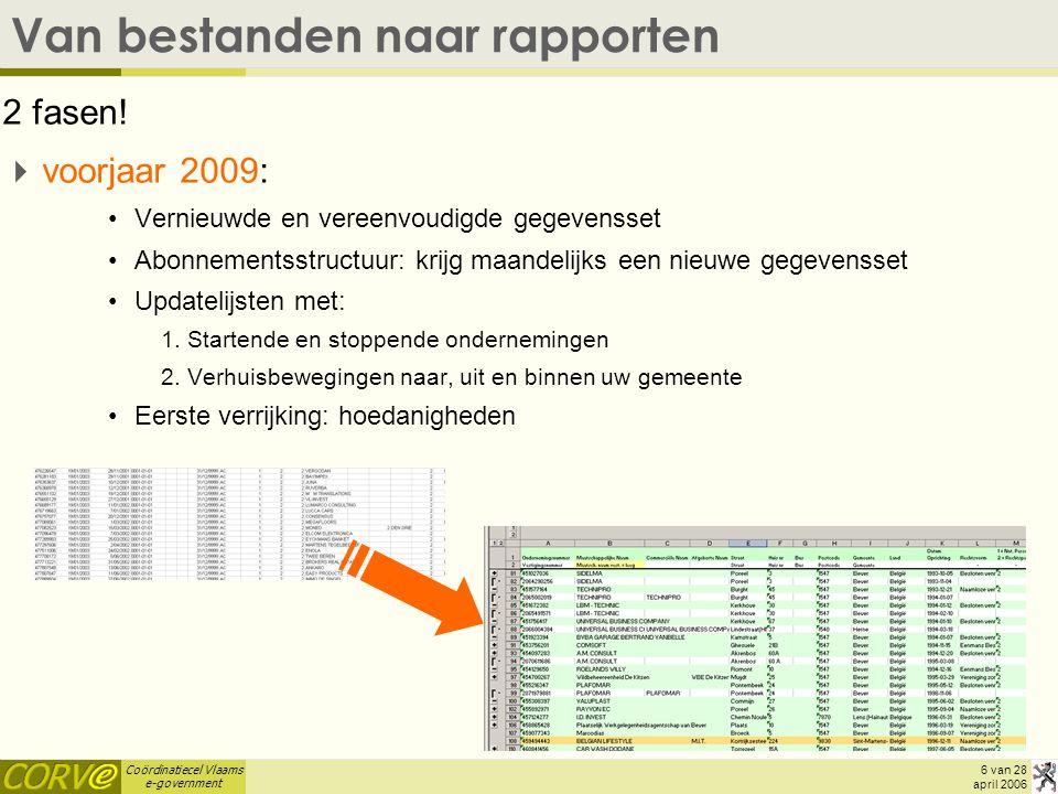 Coördinatiecel Vlaams e-government 6 van 28 april 2006 Van bestanden naar rapporten 2 fasen.