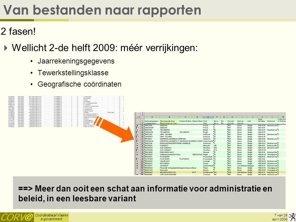 Coördinatiecel Vlaams e-government 8 van 28 april 2006 Van bestanden naar rapporten Beide varianten blijven bestaan:  VKBO-gemeentebestanden: –Voor integratie in databanken, of om er zelf verder mee aan de slag te gaan (van MS Access, over Open Office Base, tot professionele databanken) –Voor specifieke rapporten op maat (vb.