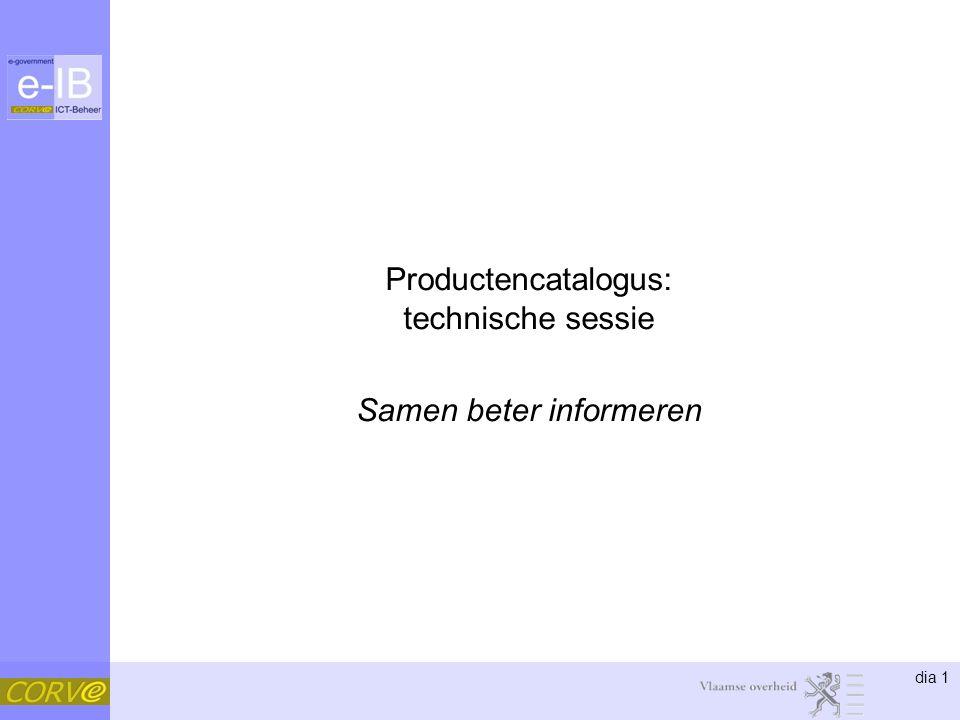 dia 1 Productencatalogus: technische sessie Samen beter informeren