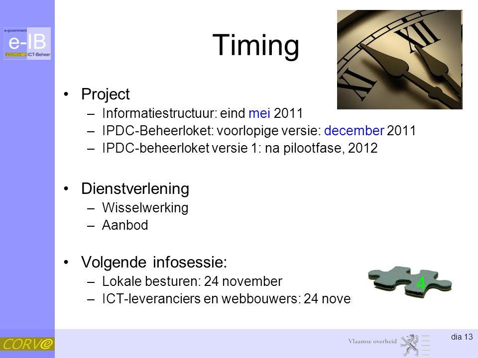 dia 13 Timing Project –Informatiestructuur: eind mei 2011 –IPDC-Beheerloket: voorlopige versie: december 2011 –IPDC-beheerloket versie 1: na pilootfase, 2012 Dienstverlening –Wisselwerking –Aanbod Volgende infosessie: –Lokale besturen: 24 november –ICT-leveranciers en webbouwers: 24 november 4