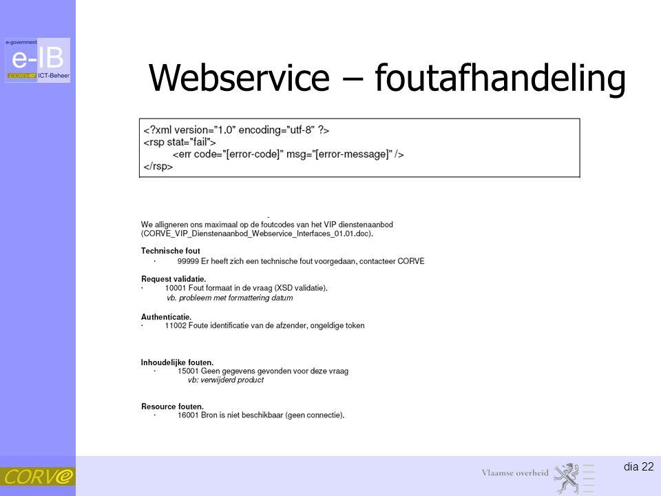 dia 22 Webservice – foutafhandeling