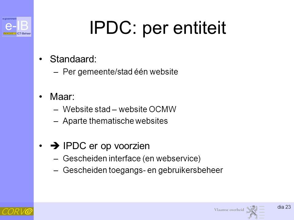 dia 23 IPDC: per entiteit Standaard: –Per gemeente/stad één website Maar: –Website stad – website OCMW –Aparte thematische websites  IPDC er op voorzien –Gescheiden interface (en webservice) –Gescheiden toegangs- en gebruikersbeheer