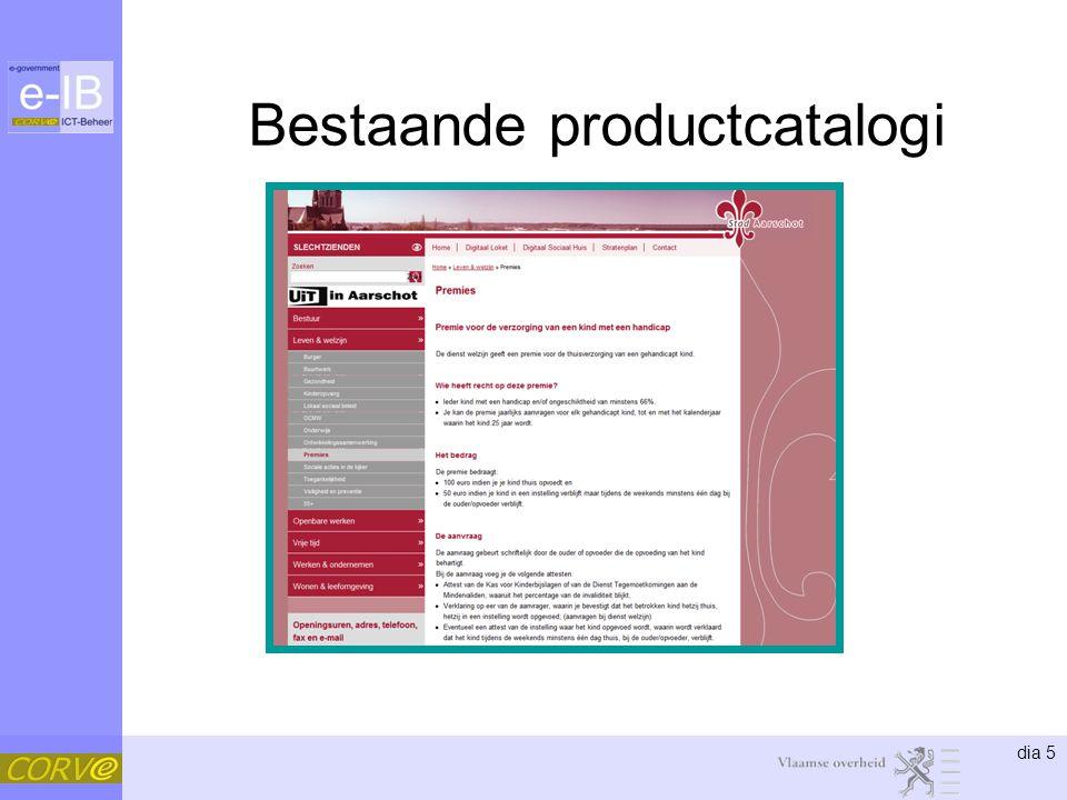 dia 5 Bestaande productcatalogi