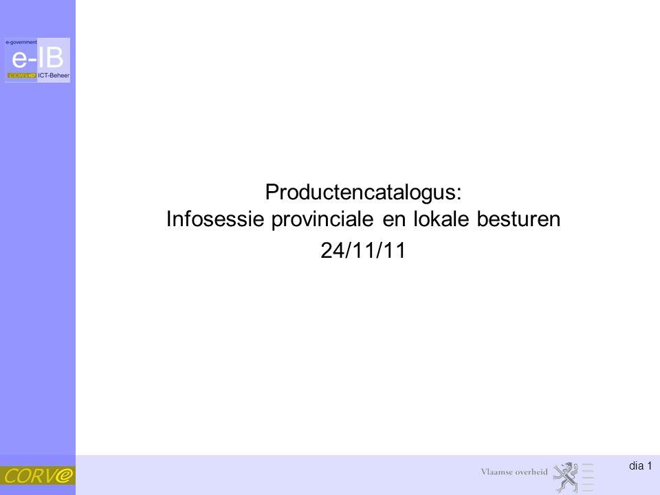 dia 1 Productencatalogus: Infosessie provinciale en lokale besturen 24/11/11