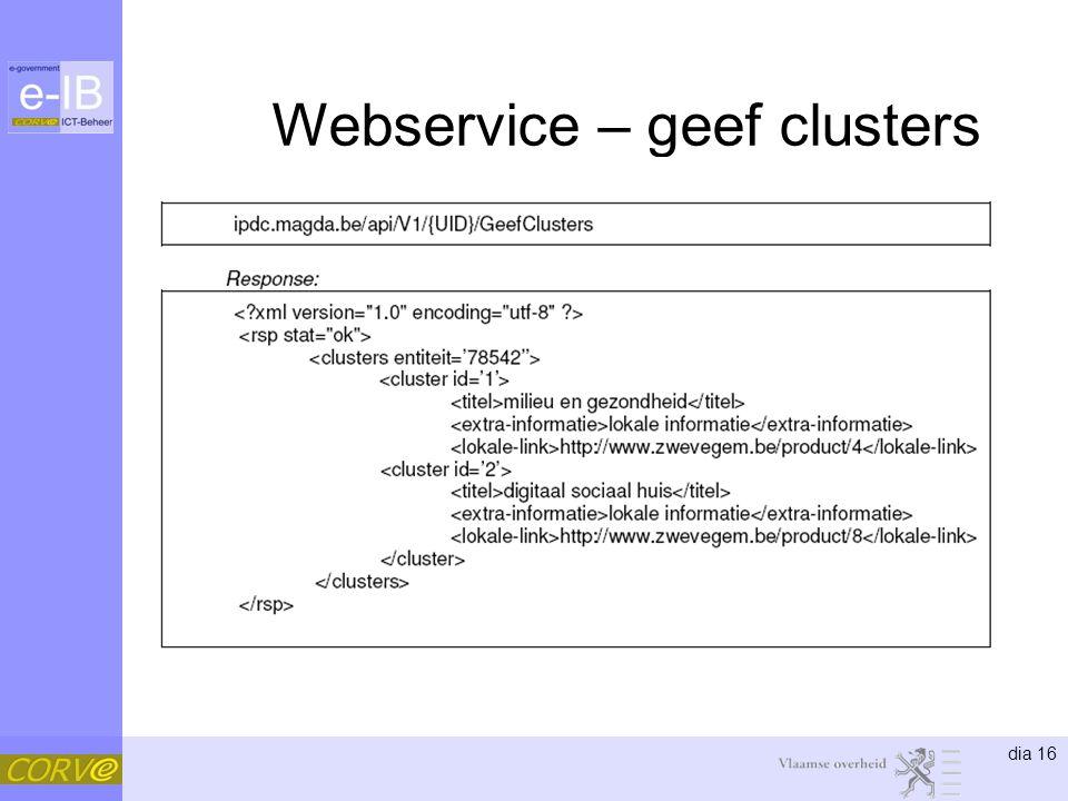 dia 16 Webservice – geef clusters