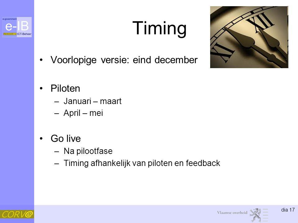 dia 17 Timing Voorlopige versie: eind december Piloten –Januari – maart –April – mei Go live –Na pilootfase –Timing afhankelijk van piloten en feedback