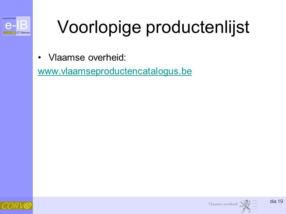 dia 19 Voorlopige productenlijst Vlaamse overheid: www.vlaamseproductencatalogus.be