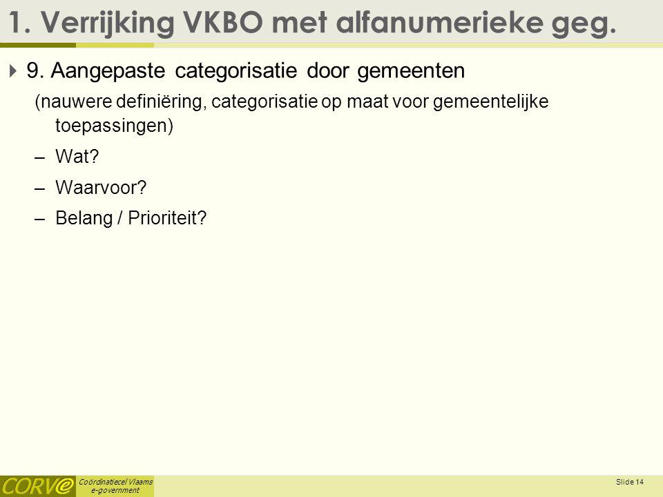 Coördinatiecel Vlaams e-government 1. Verrijking VKBO met alfanumerieke geg.  9. Aangepaste categorisatie door gemeenten (nauwere definiëring, catego