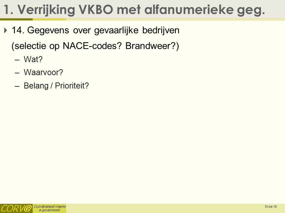 Coördinatiecel Vlaams e-government 1. Verrijking VKBO met alfanumerieke geg.  14. Gegevens over gevaarlijke bedrijven (selectie op NACE-codes? Brandw