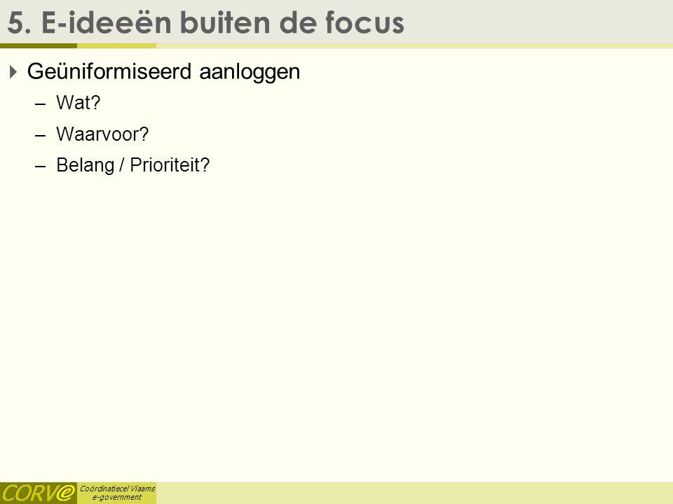 Coördinatiecel Vlaams e-government 5. E-ideeën buiten de focus  Geüniformiseerd aanloggen –Wat? –Waarvoor? –Belang / Prioriteit?